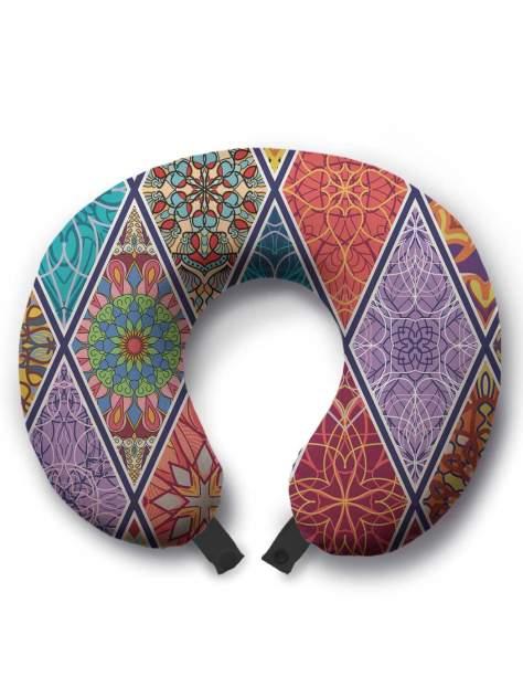 Дорожная подушка JoyArty Цветочные витражи красная