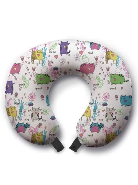Дорожная подушка JoyArty Коты веселятся желтая