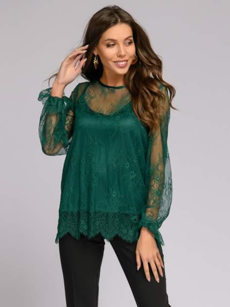 Блуза женская 1001dress DM01691EM зеленая 42 RU
