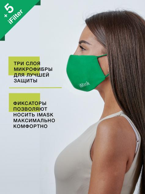 Маска многоразовая женская i-Maskс комплектом сменных фильтров iFilter Зелёная