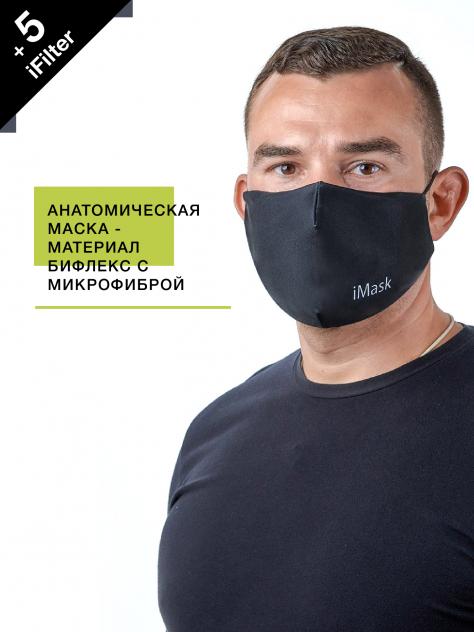 Маска многоразовая мужская i-Mask с комплектом сменных фильтров iFilter Асфальт