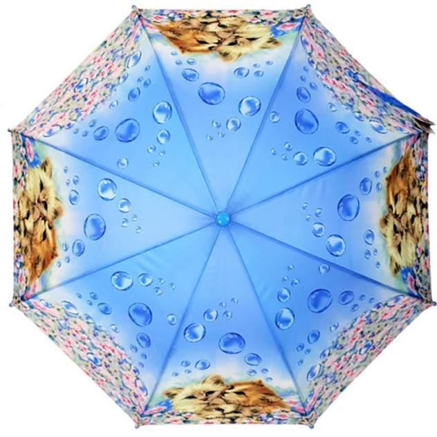 Детский зонт-трость Diniya с цветной ручкой, котята и цветы голубой UM0004A