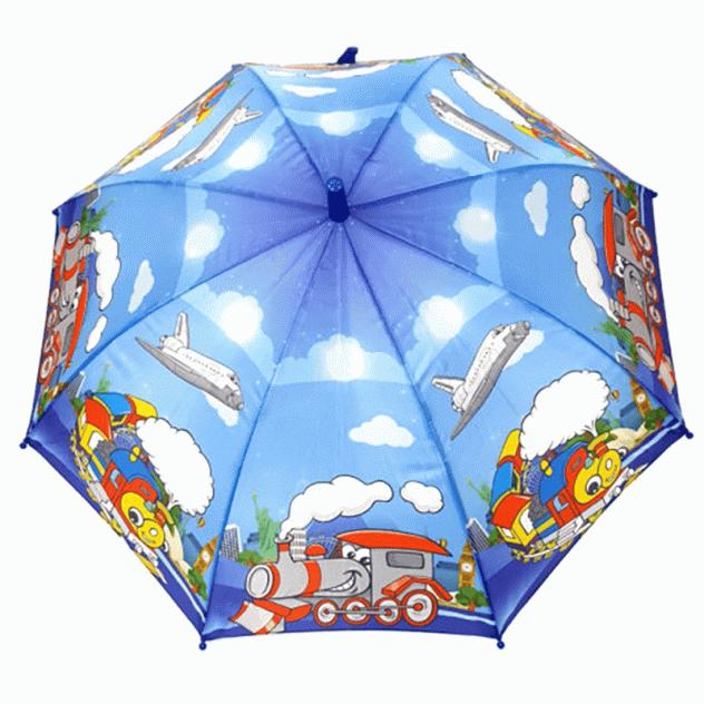 Детский зонт-трость Diniya с цветной ручкой, белый самолет в небе синий UM0006A