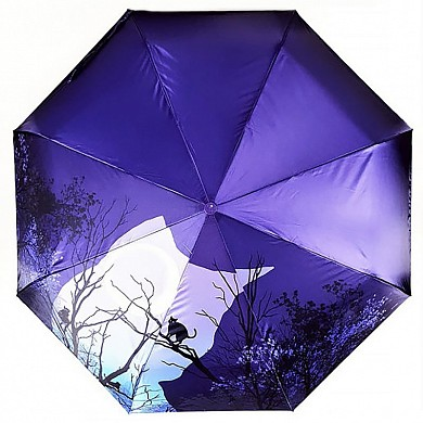 Зонт женский Diniya UM0005 Коты в городе ярко-синий