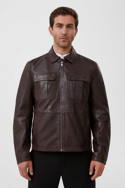 Мужская кожаная куртка Finn Flare FAB21801, коричневый