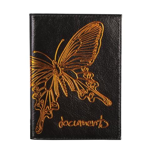 Обложка для автодокументов женская Befler Бабочка черная