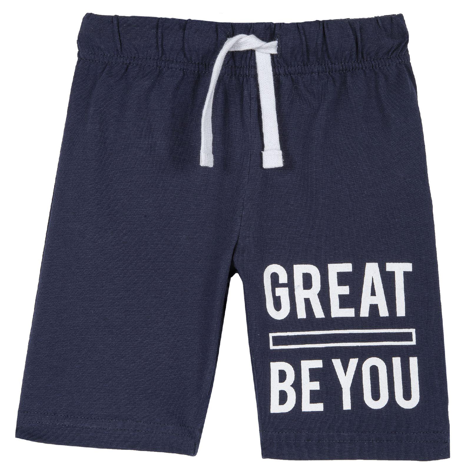 9052824, Шорты для мальчиков Chicco с надписью Great be you, цвет темно-синий, размер 92, Детские брюки и шорты  - купить со скидкой