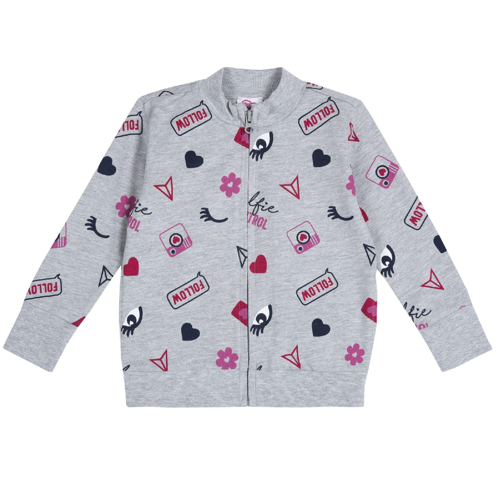 Купить 9009356, Толстовка для девочек Chicco Глазки, цвет серый, размер 92, Кофточки, футболки для новорожденных