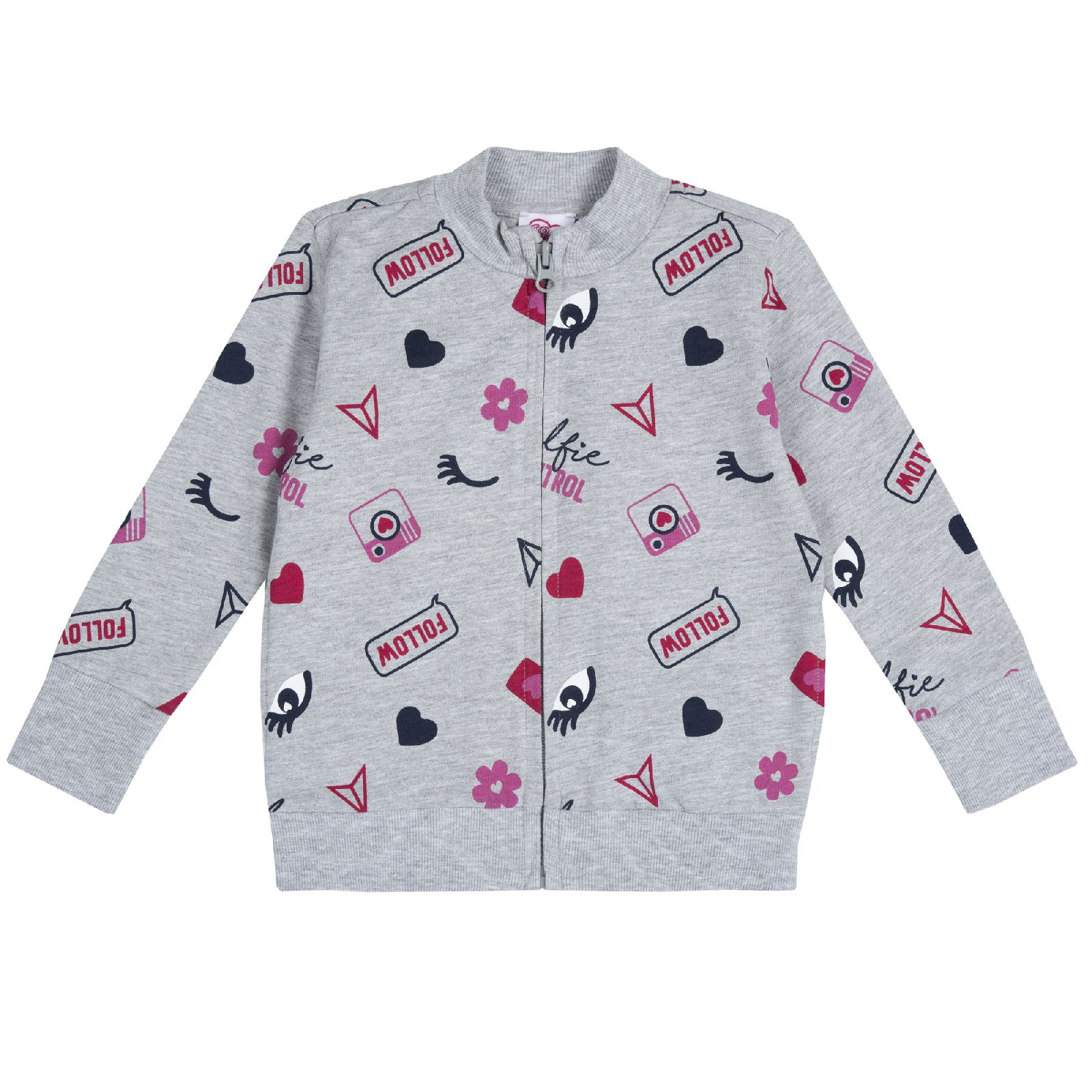 Купить 9009356, Толстовка для девочек Chicco Глазки, цвет серый, размер 110,