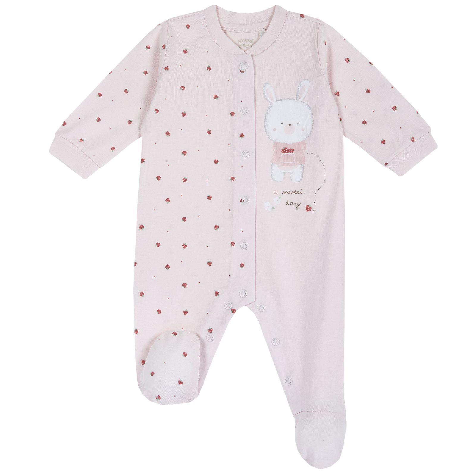 Комбинезон для девочек Chicco с клубничками, цвет розовый, размер 74