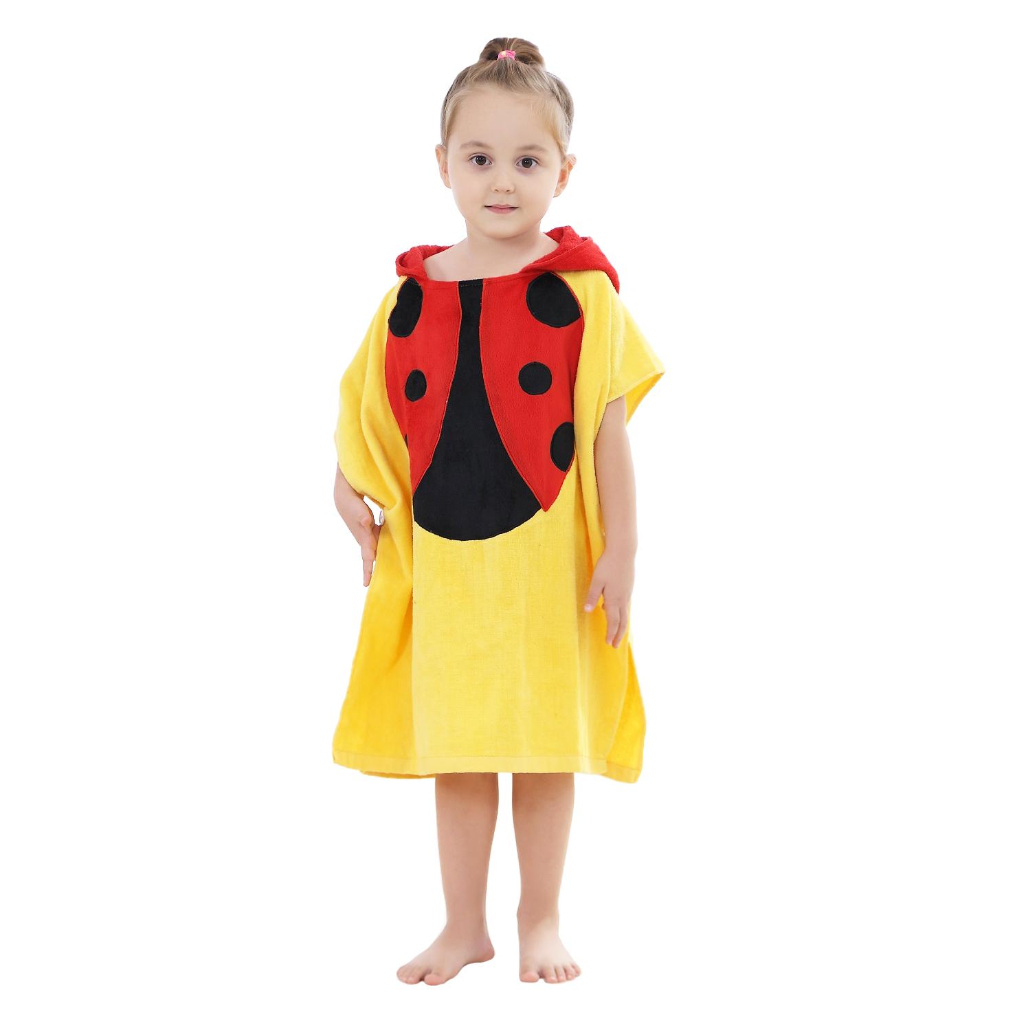 Купить Детское полотенце-пончо Baby Fox Божья коровка, цвет желтый, 140х70 см,