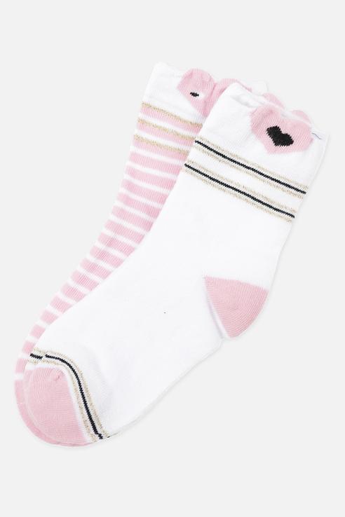 Купить 120224010, Носки детские 2 пары Play Today, цв. розовый; белый р.20,