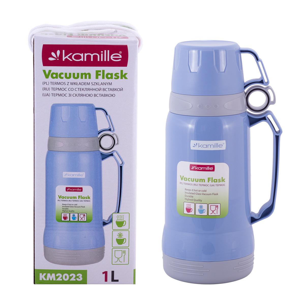 Фото - Термос 1000мл пластиковый со стеклянной колбой (2 чашки; синий, голубой, зелёный) от Kamille