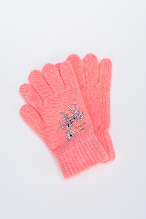 Перчатки для девочек Мария, цв. коралловый р.13