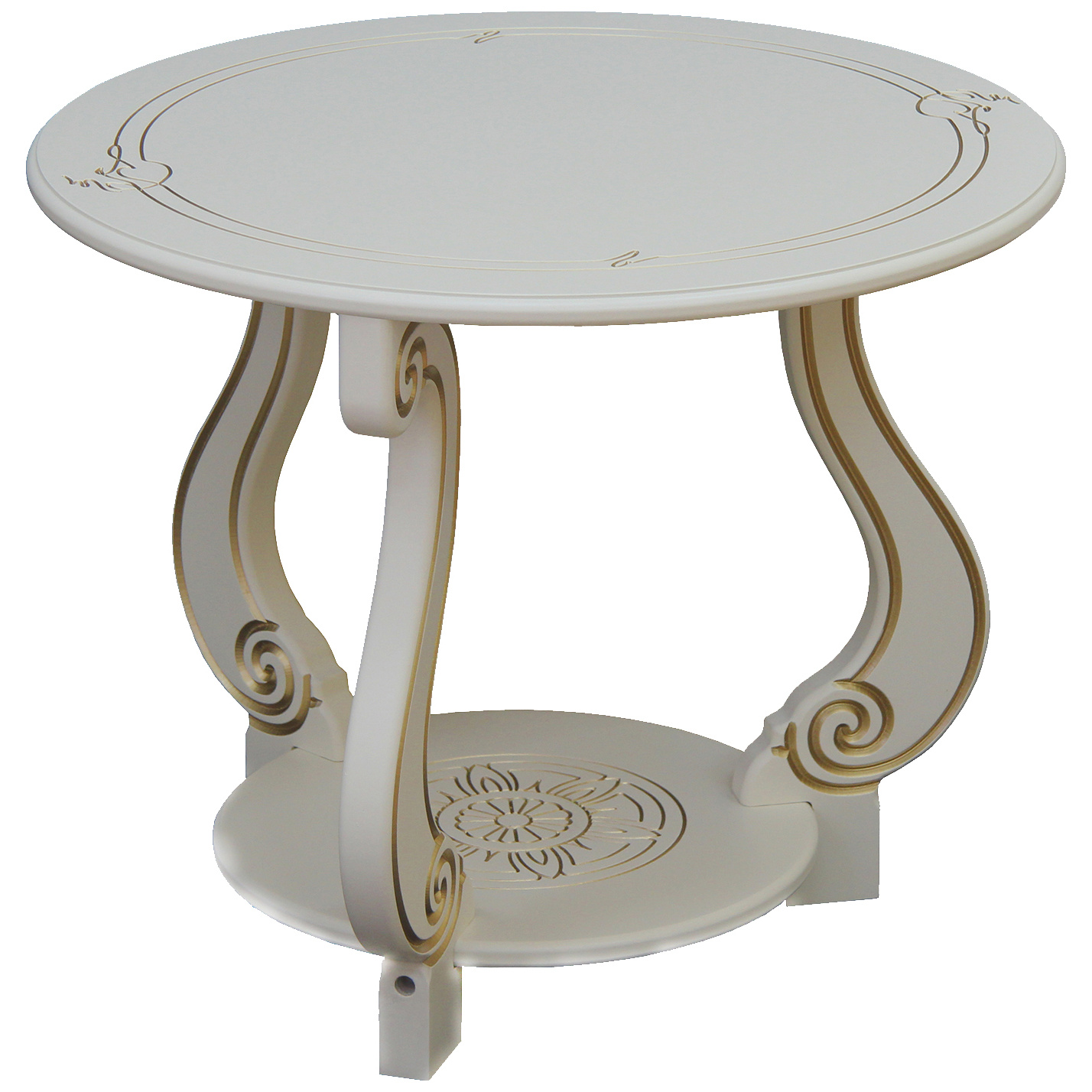 Журнальный столик Мебелик Грация (С) 467 59х59х49 см, слоновая кость/золото