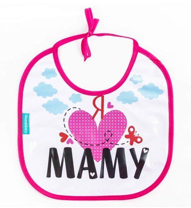 Нагрудник непромокаемый Mum#and#Baby Я люблю маму, на завязках 2309087