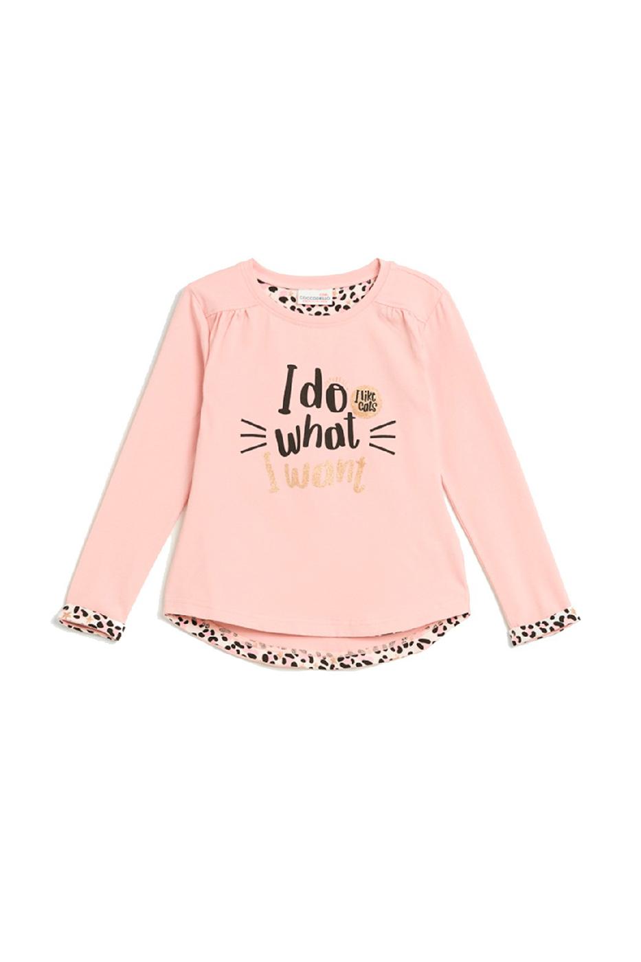 Купить W20143102CAT, Лонгслив для девочки COCCODRILLO цв.розовый р.116, Футболки для девочек