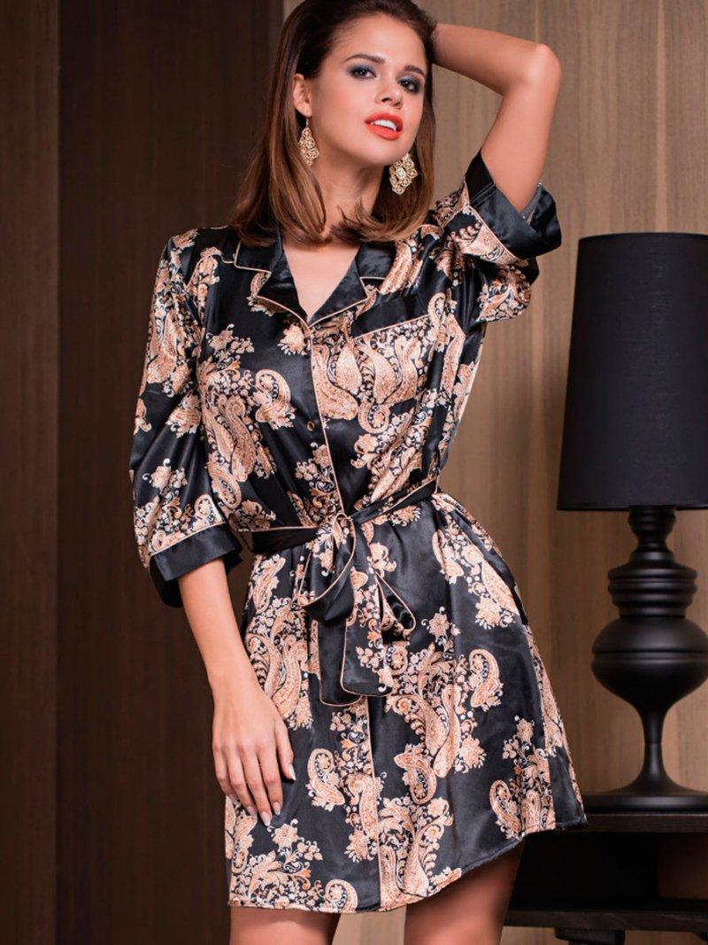 Шелковый халат женский Mia-Mia 3307 Mia-Amore черный XXL фото