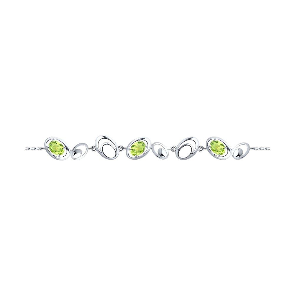 Браслет из серебра с хризолитами р.18 Diamant 94-350-00643-1