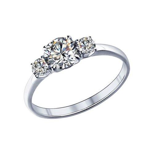 Помолвочное кольцо женское SOKOLOV из серебра с фианитами 89010008 р.18