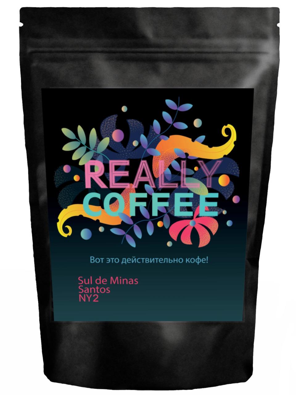Свежеобжаренный кофе Really Coffee в зернах Бразилия Сантос Sul de Minas 250 г