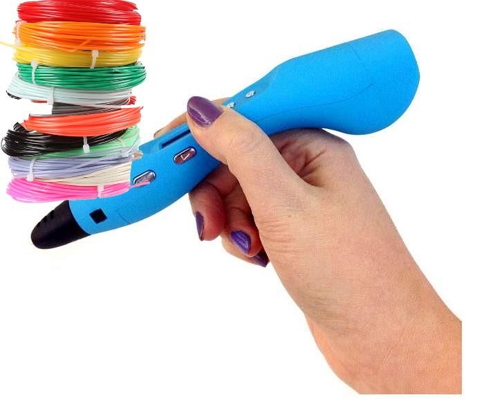 Купить Ручка 3D Stereo Graffiti Pen RP400A с набором пластика ABS-150м цвет ручки: голубой, EasyReal, 3D ручки