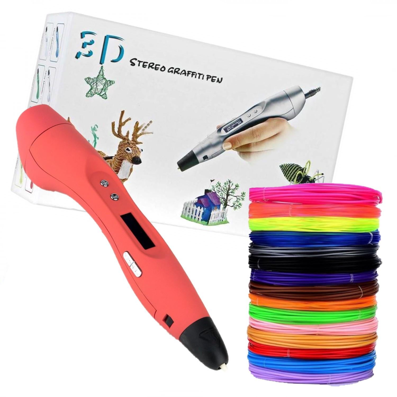 Купить Ручка 3D Easy Real RP400A с набором пластика ABS-150м 15 цветов, цвет ручки красный., EasyReal, 3D ручки