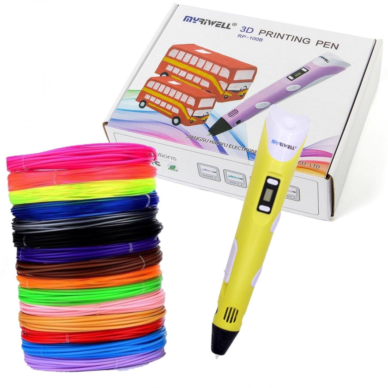 Купить 3D ручка Myriwell RP100B с набором пластика ABS-150м 15 цветов, цвет ручки: желтый, 3D ручки