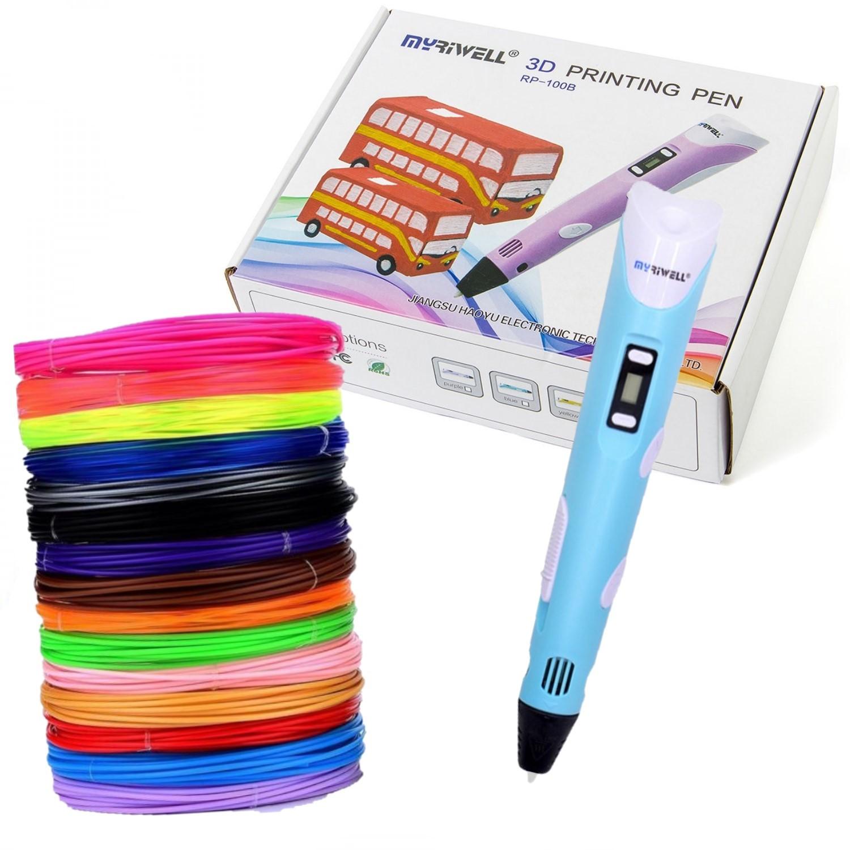 Купить 3D ручка Myriwell RP100B с набором пластика ABS-150м 15 цветов, цвет ручки: голубой, 3D ручки