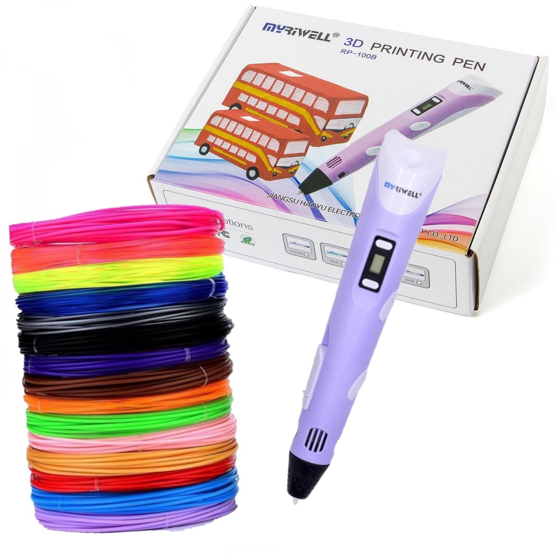 Купить 3D ручка Myriwell RP100B с набором пластика ABS-150м 15 цветов, цвет ручки: сиреневый, 3D ручки
