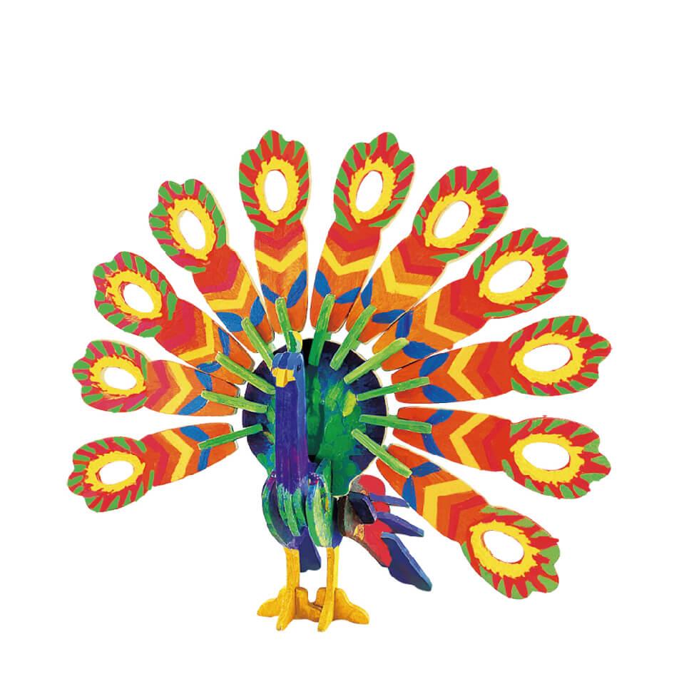 3Д пазл раскраска ТМ Цветной Павлин раскраска