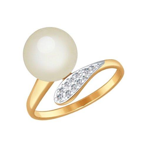 Кольцо женское SOKOLOV из золота с жемчугом и фианитами 791003 р.16.5
