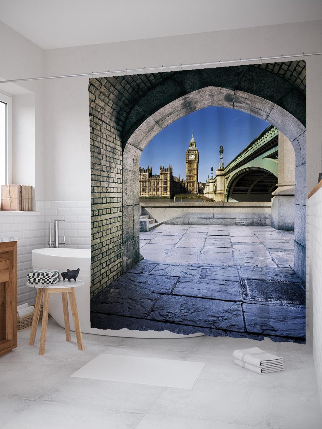 Штора (занавеска) для ванной «Лондонский тоннель» из ткани, 180х200 см с крючками