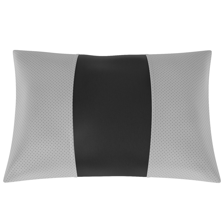 Подушка автомобильная AVTOLIDER1 Экокожа серый чёрный
