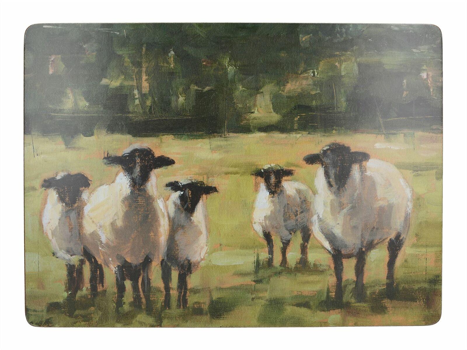 Подставки на пробке большие Овцы на пастбище