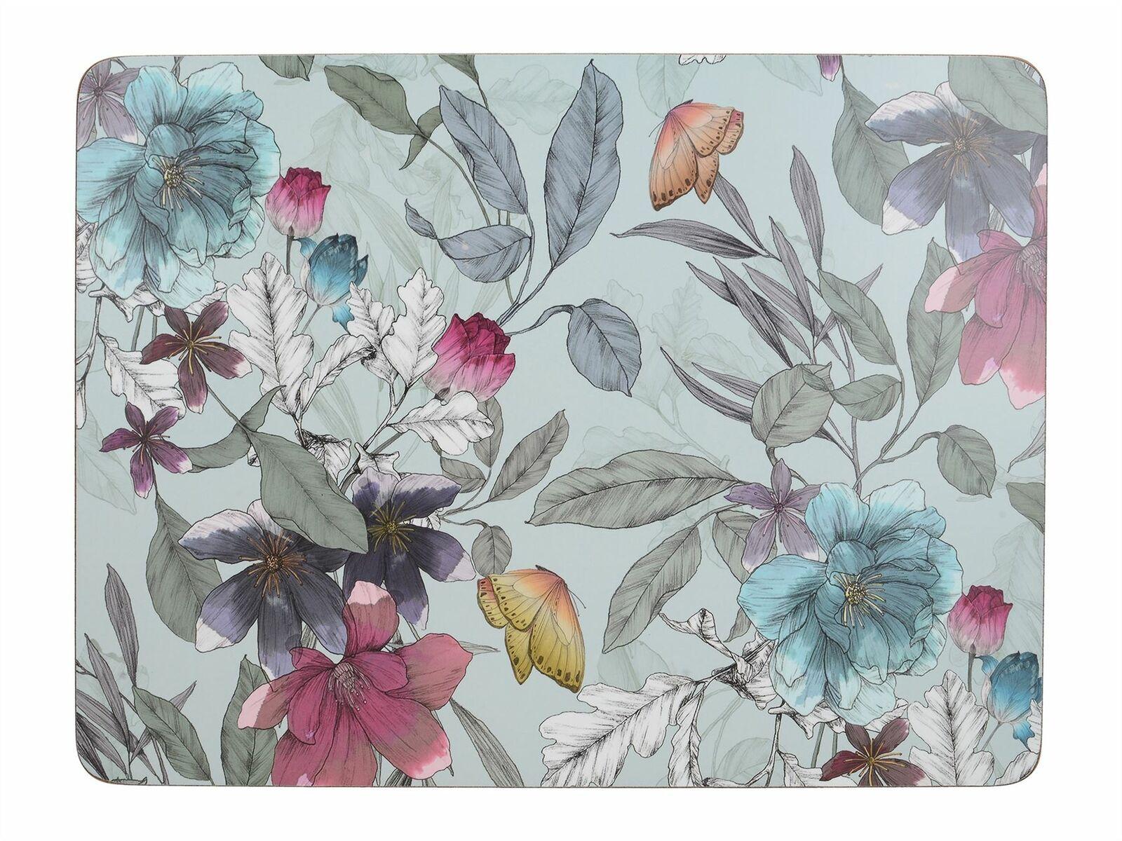 Подставки на пробке средние Бабочки в цветах