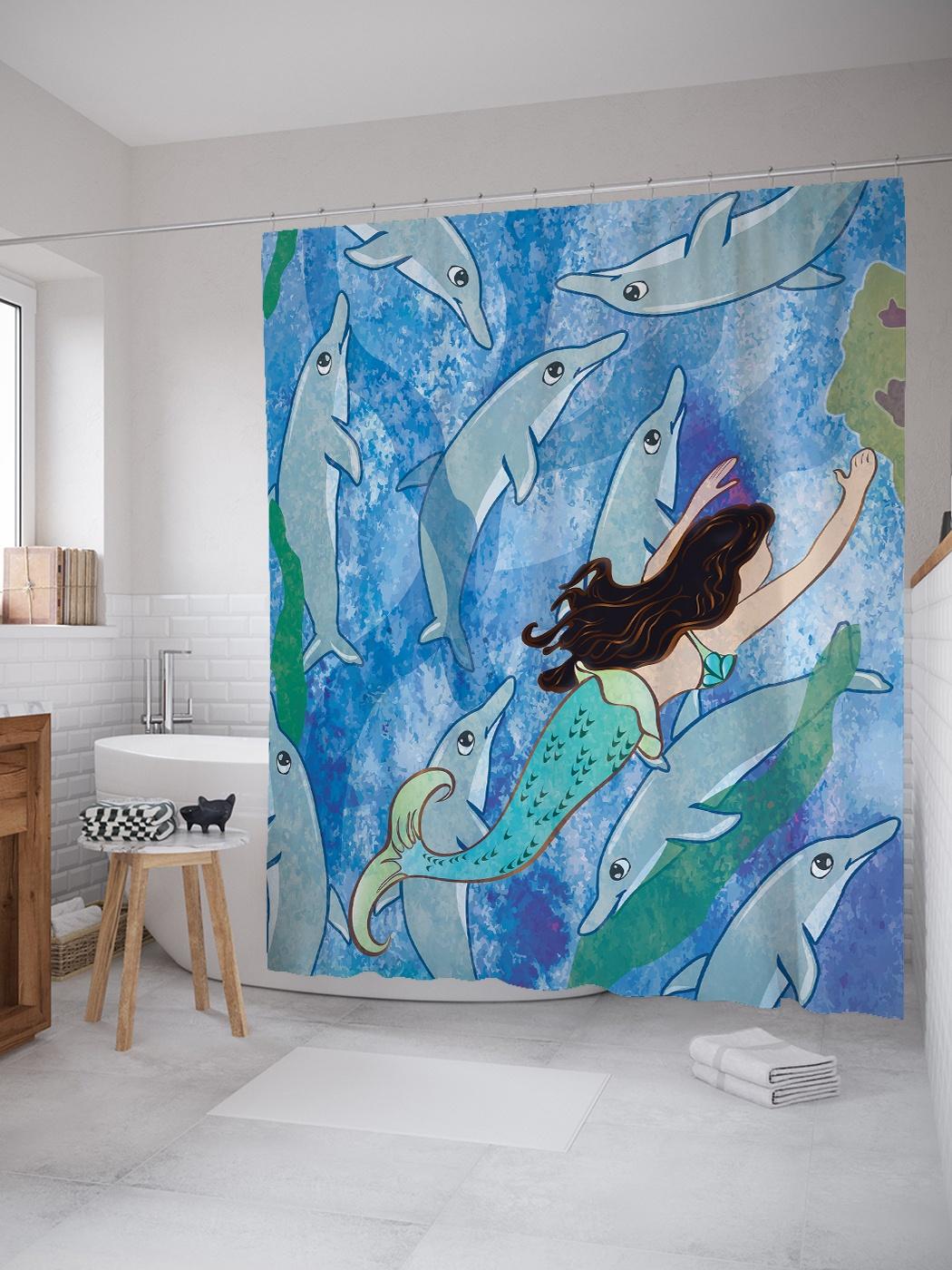 Штора (занавеска) для ванной «Дельфины и русалка » из ткани, 180х200 см с крючками