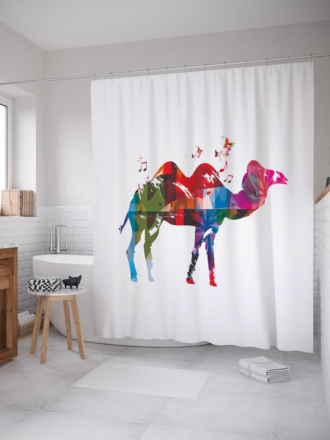 Штора (занавеска) для ванной «Абстрактный верблюд» из ткани, 180х200 см с крючками