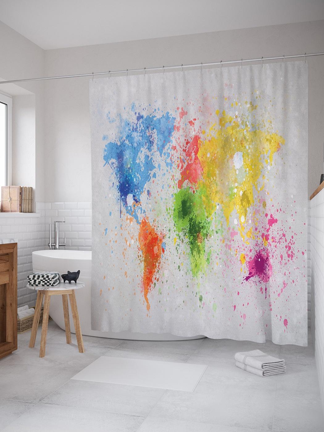 Штора (занавеска) для ванной «Всемирные краски» из ткани, 180х200 см с крючками