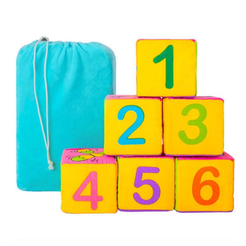 Купить Мягкие развивающие кубики Цифры и предметы, 6 штук, NoName, Развивающие кубики