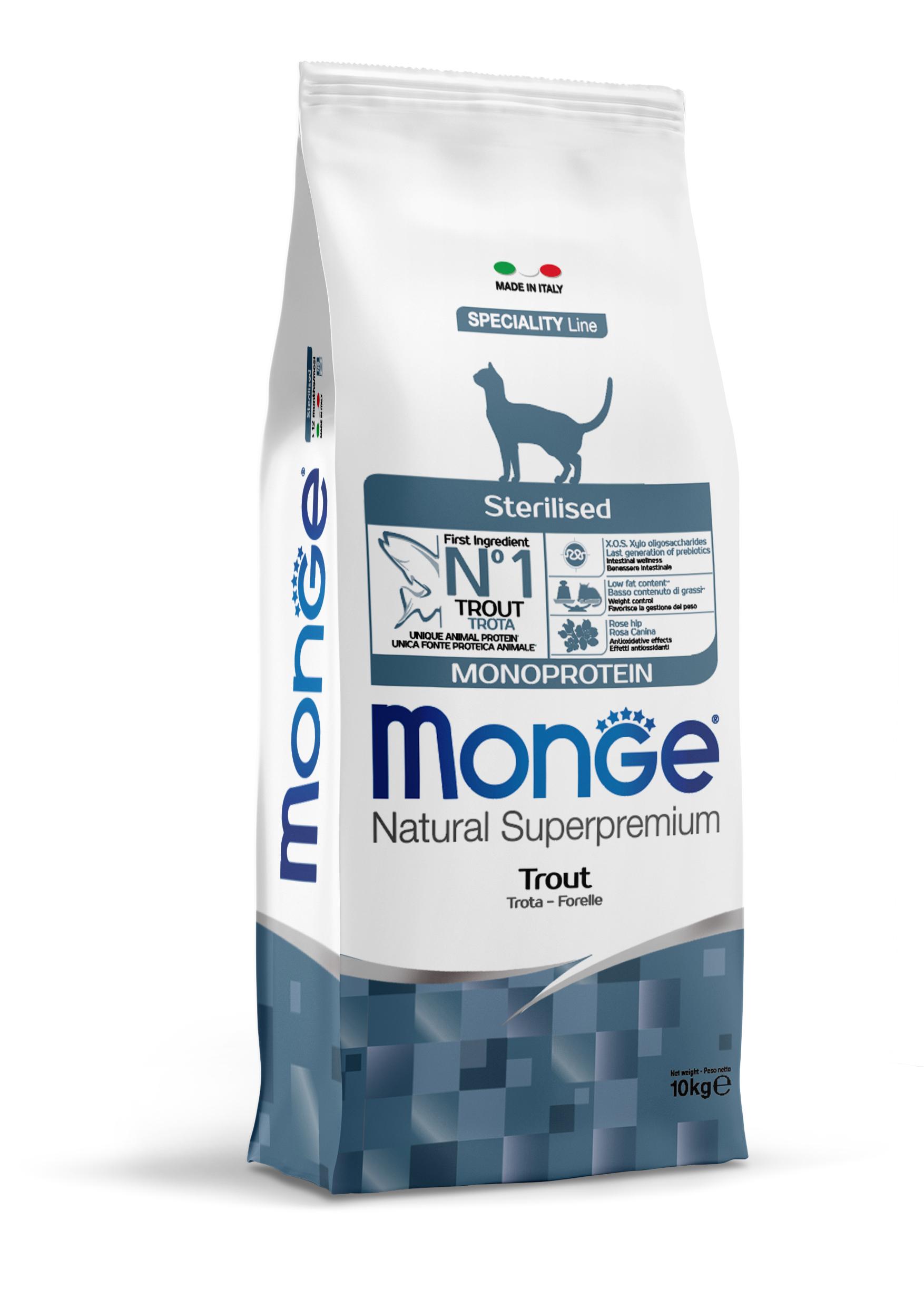 Сухой корм для кошек Monge Monoprotein Sterilised, для стерилизованных, форель, 10кг фото