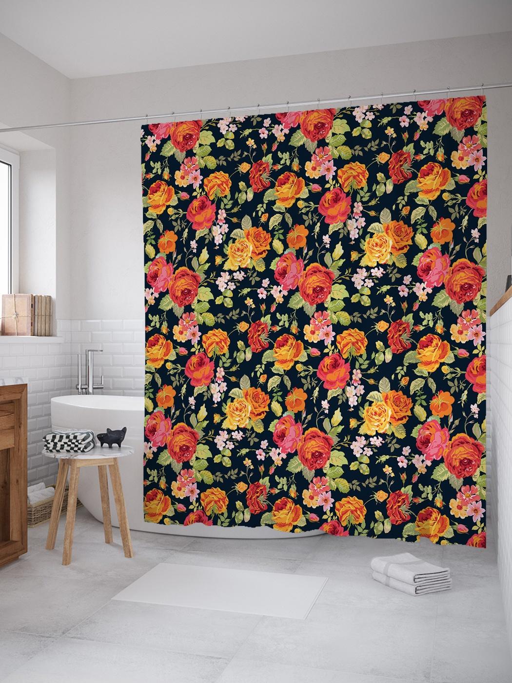 Штора (занавеска) для ванной «Цветочный ковер» из ткани, 180х200 см с крючками