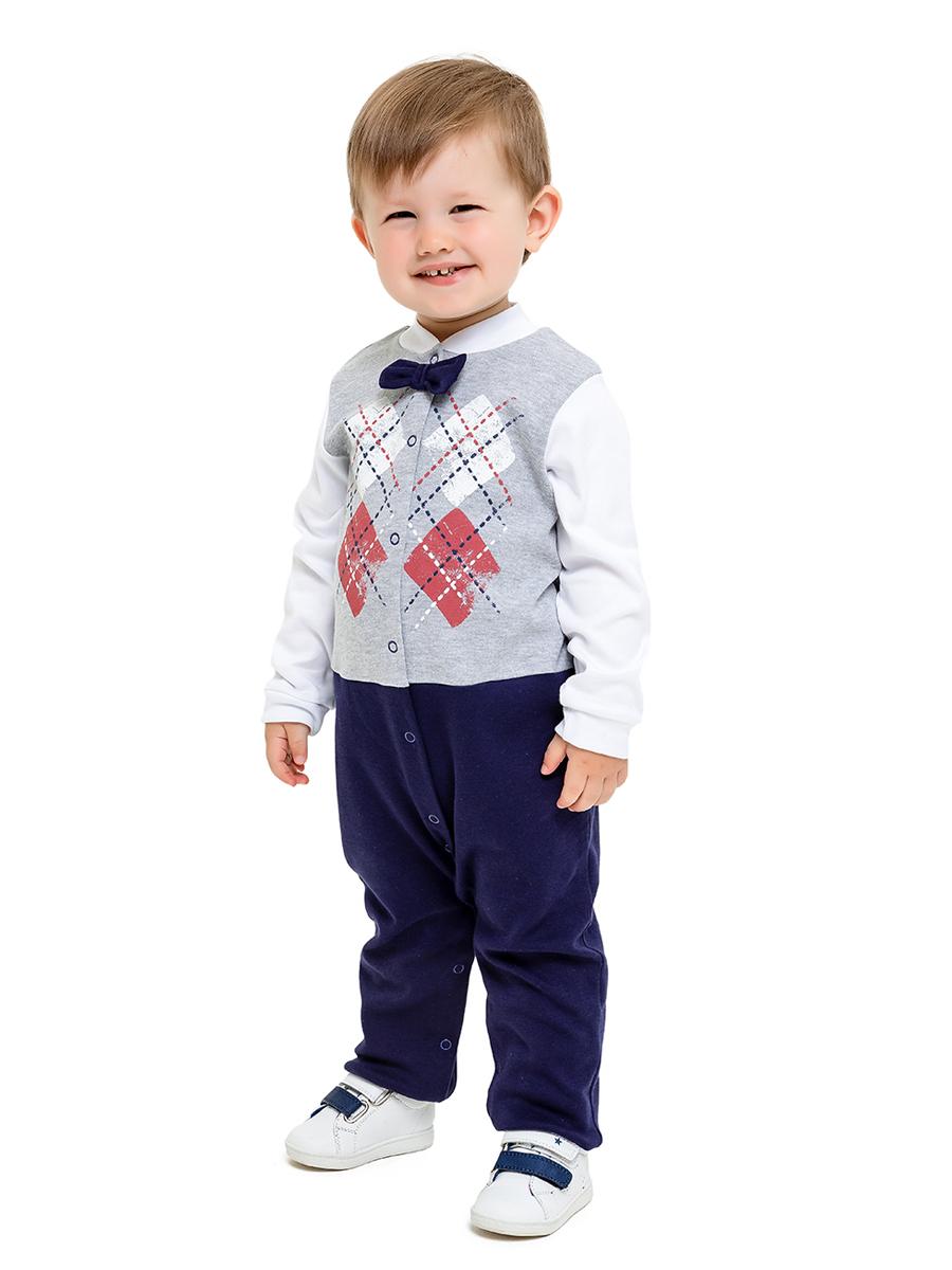 Купить 357/322, Комбинезон с бабочкой Маленький джентельмен Веселый малыш Серый меланж-синий_68,