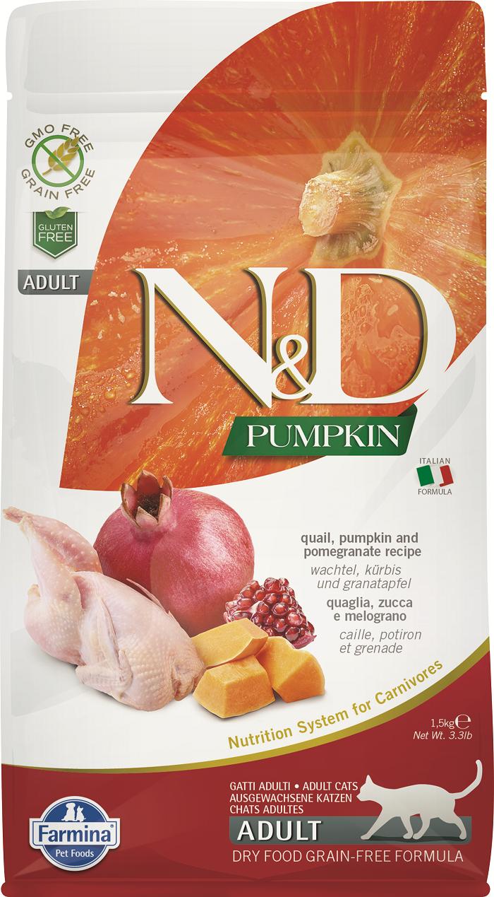 Сухой корм для кошек Farmina N&D Adult Pumpkin, беззерновой, перепел, тыква и гранат, 5кг