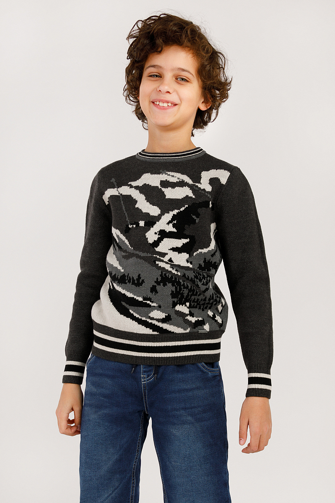 Купить KW19-81112_серый, Джемпер для мальчиков Finn-Flare, цв. серый, р-р 134, Finn Flare,