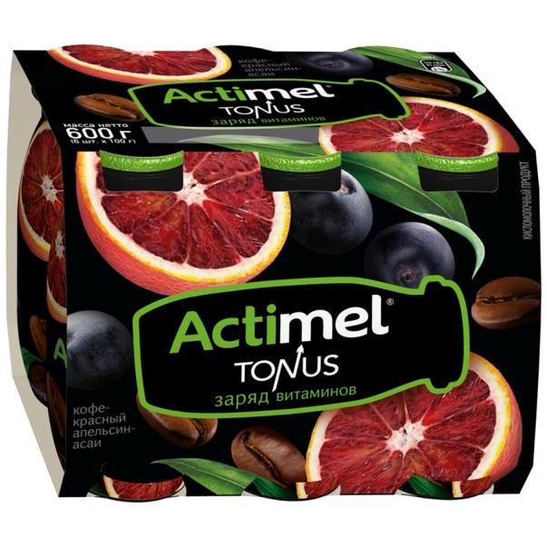 Напиток Actimel Tonus кисломолочный кофе, красный апельсин, асаи 2.5% 100 г