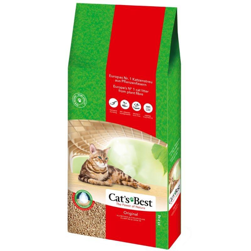 Комкующийся наполнитель для кошек CAT'S BEST Eko Plus древесный, 17.27 кг, 40 л фото