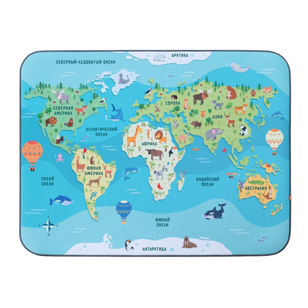 Игровой плюшевый ковер 3в1 Wolli matlig карта мира, 120х160 см