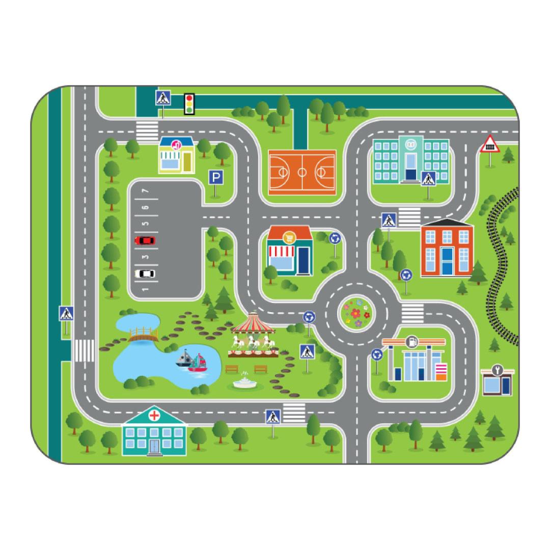 Игровой плюшевый ковер 3в1 Wolli matlig, городские дороги, 120х160 см