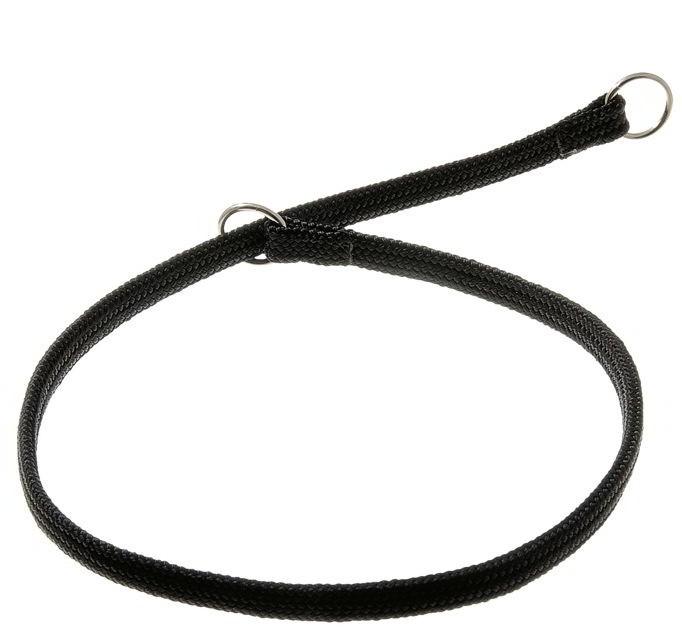 Ошейник-удавка с двумя кольцами (лента-чулок), черный, 7 мм x 40 см